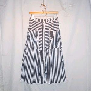 Vintage Cotton Button Front Stripped Midi Skirt